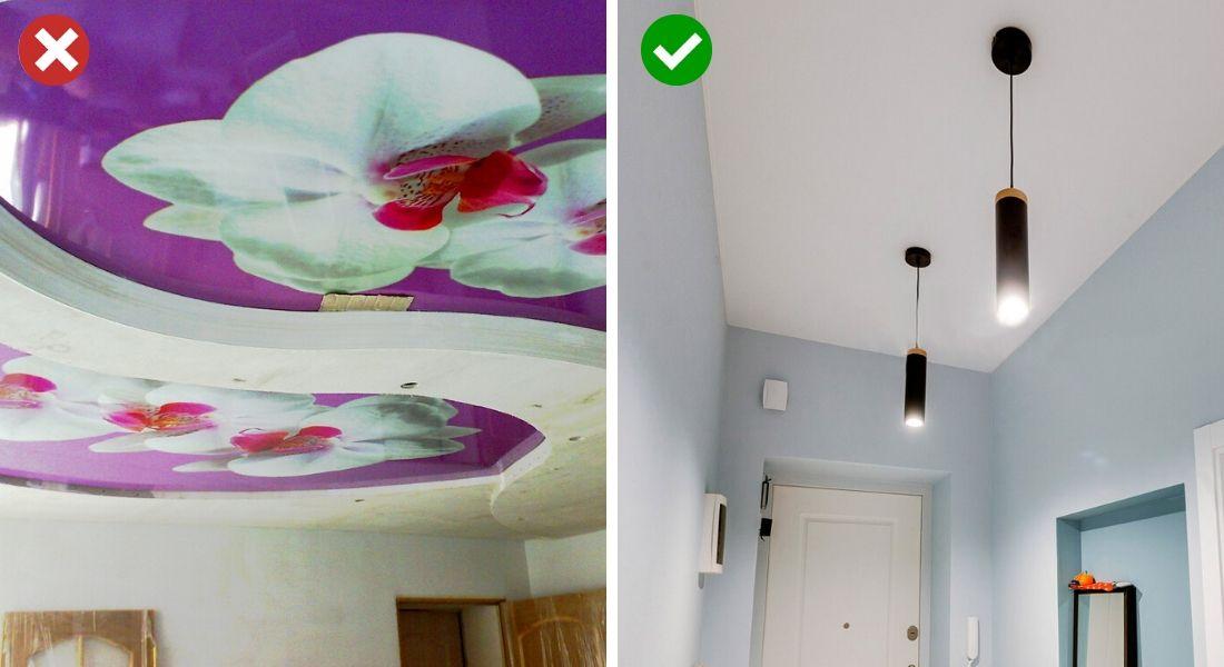 Потолок с рисунком и без